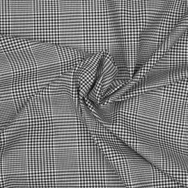 Tissu coton et lycra motif prince de galles tissé noir et blanc x 10cm