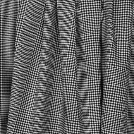 Tissu coton et lycra motif prince de galles tissé noir et blanc - pretty mercerie - mercerie en ligne
