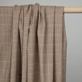 Tissu beige à motif tartan, lignes roses et fil lurex argent - pretty mercerie - mercerie en ligne