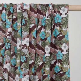 Tissu coton et viscose à motif jungle flower - pretty mercerie - mercerie en ligne