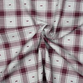 Tissu coton sergé gris et cordovan à motif carreaux et plumetis x 10cm