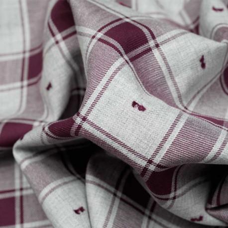 Tissu coton sergé gris et cordovan à motif carreaux et plumetis - pretty mercerie - mercerie en ligne