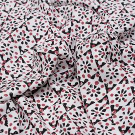 Tissu viscose blanc à motifs rose garnet et noir X 10 CM