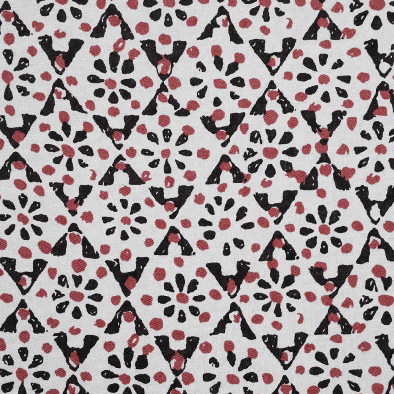 Tissu viscose blanc à motifs rose garnet et noir - pretty mercerie - mercerie en ligne