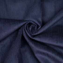 Tissu velours côtelé coton bleu patriote x 10 cm