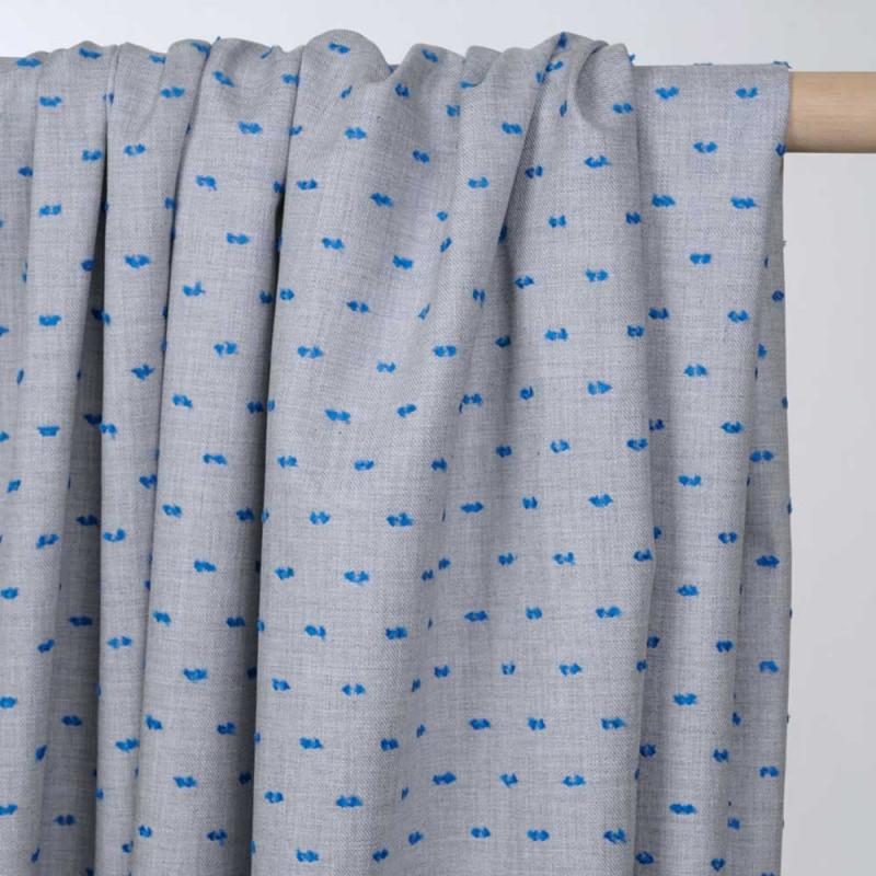 Tissu coton plumetis gris clair et french blue - pretty mercerie - mercerie en ligne
