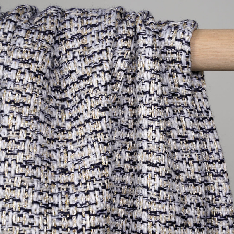 Tissu tweed blanc et bleu éclipse et lurex or - pretty mercerie - mercerie en ligne