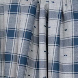 Tissu coton sergé gris et bleu marocain à motif carreaux et plumetis - pretty mercerie - mercerie en ligne