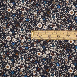 Tissu coton mood indigo à motif fleuri blanc, ocre, cinnamon et french blue - pretty mercerie - mercerie en ligne