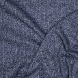 Tissu Flanelle de coton à rayures bleu et gris chiné x 10cm