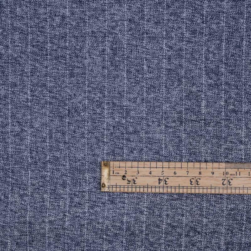 Tissu Flanelle de coton à rayures bleu et gris chiné - pretty mercerie - mercerie en ligne