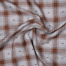 Tissu coton sergé gris et chutney à motif carreaux et plumetis x 10cm