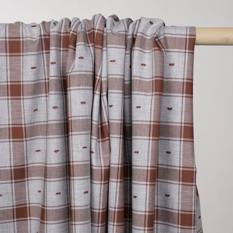 Tissu coton sergé gris et chutney à motif carreaux et plumetis - pretty mercerie - mercerie en ligne