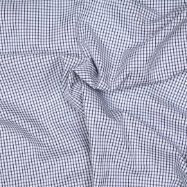 Tissu coton blanc à motif carreaux tissés bleus x 10cm