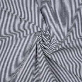 Tissu coton seersucker motif rayé blue jeans et blanc x 10cm