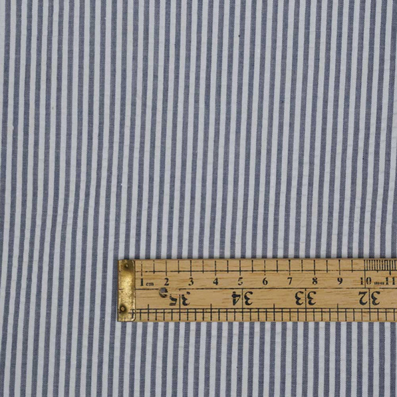 Tissu coton seersucker motif rayé blue jeans et blanc - pretty mercerie - mercerie en ligne