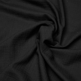 tissu double gaze de coton noir x 10 cm