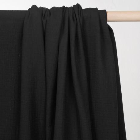 tissu double gaze de coton noir - pretty mercerie - mercerie en ligne