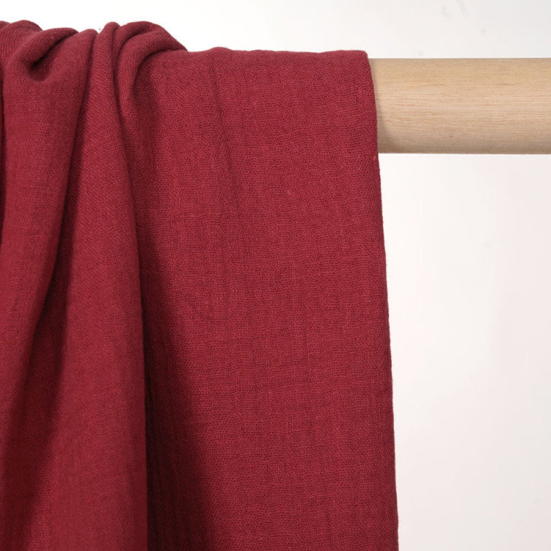 tissu double gaze de coton deep claret  - pretty mercerie - mercerie en ligne