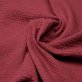 tissu double gaze de coton rose garnet x 10 cm