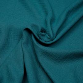 tissu double gaze de coton bleu corsair  x 10 cm