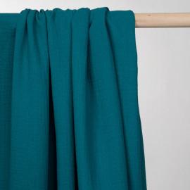 tissu double gaze de coton bleu corsair  - pretty mercerie - mercerie en ligne