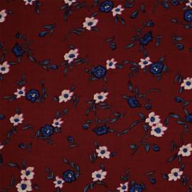 Tissu viscose rio red à motif fleuri bleu et mauve - pretty mercerie - mercerie en ligne