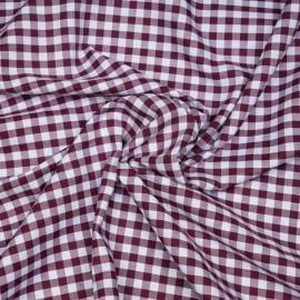Tissu coton vichy tissé rhododendron et blanc x 10cm