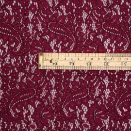 Tissu dentelle beet red motif paisley  - pretty mercerie - mercerie en ligne