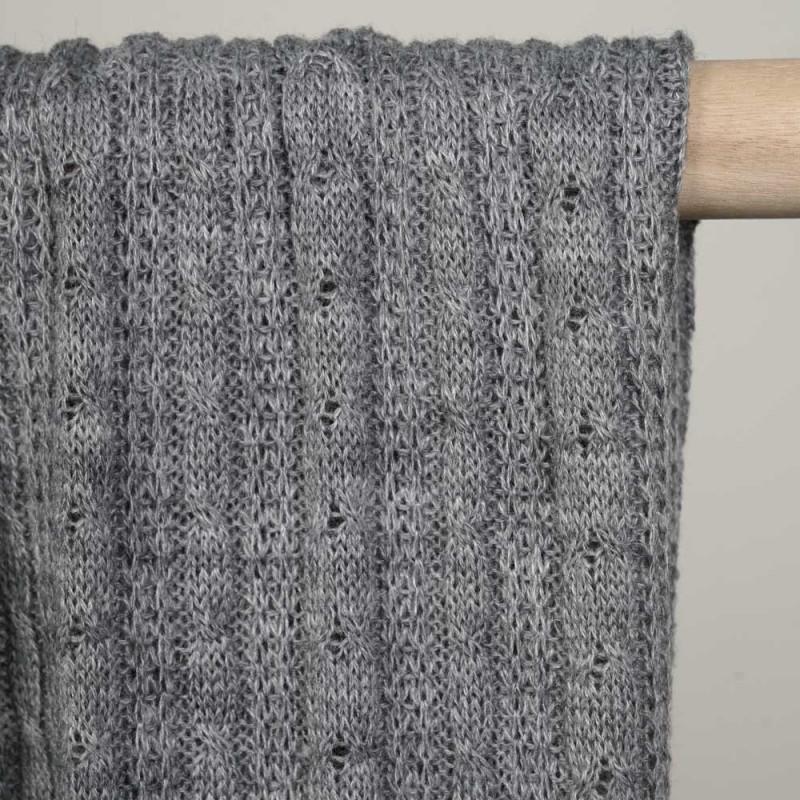tissu lainage tricoté et torsadé gris clair - pretty mercerie - mercerie en ligne