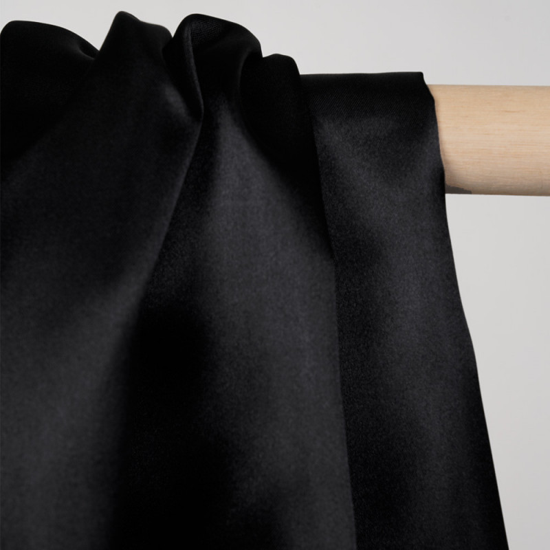 Doublure satin polyester noir - pretty mercerie - mercerie en ligne