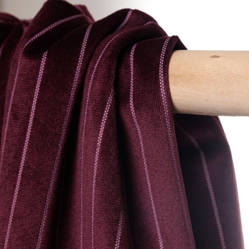 Tissu velours windsor wine à fines rayures pointillés - pretty mercerie - mercerie en ligne