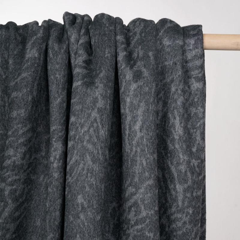 Tissu lainage double face gris à motif tigré - pretty mercerie - mercerie en ligne