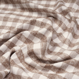 Tissu Flanelle de coton à motif vichy blanc cassé et macaron chiné x 10cm