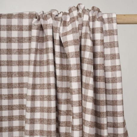 Tissu Flanelle de coton à motif vichy blanc cassé et macaron chiné - pretty mercerie - mercerie en ligne