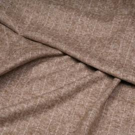 Tissu Flanelle de coton macaron chiné à rayures blanc cassé x 10cm