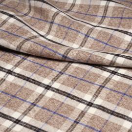 Tissu Flanelle de coton blanc cassé à motif tartan macaron chiné, noir et bleu x 10cm