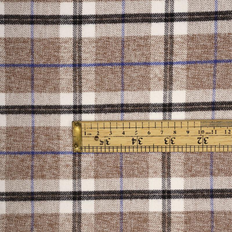 Tissu Flanelle de coton blanc cassé à motif tartan macaron chiné, noir et bleu - pretty mercerie - mercerie en ligne