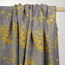 Tissu prince de galles noir et blanc à motif tacheté mimosa - pretty mercerie - mercerie en ligne