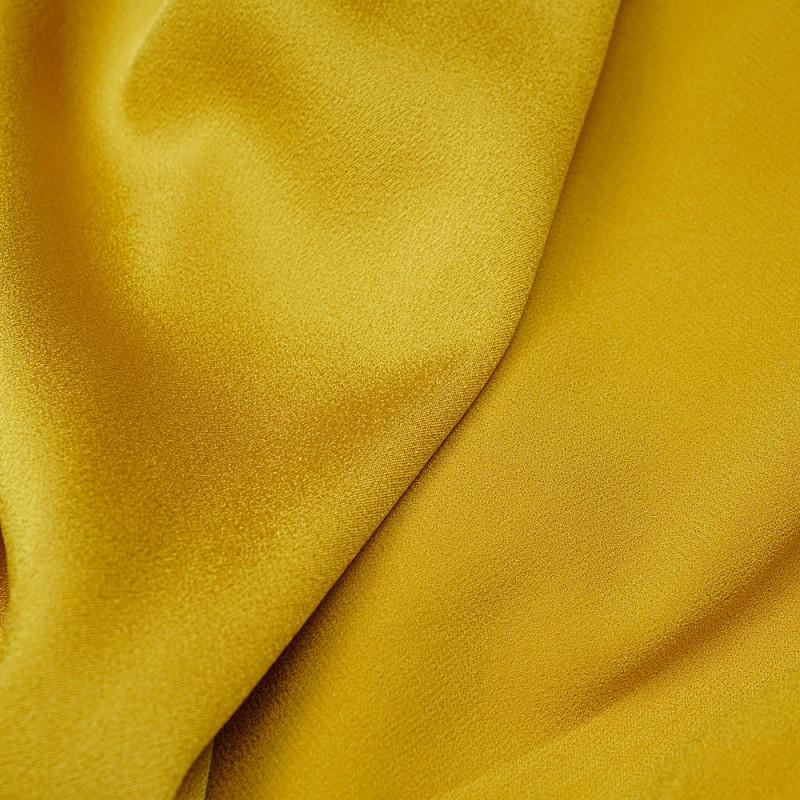 Tissu crêpe triacétate moutarde pretty mercerie - mercerie en ligne
