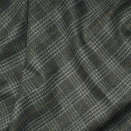Tissu Flanelle de laine prince de galles gris et lignes ochre et bordeaux x 10cm