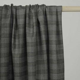 Tissu Flanelle de laine prince de galles gris et lignes ochre et bordeaux - pretty mercerie - mercerie en ligne