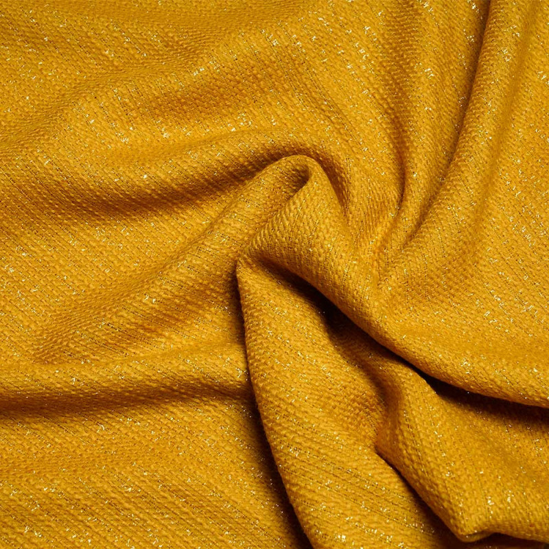 tissu lainage léger tissé golden yellow et fils lurex - pretty mercerie - mercerie en ligne
