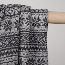 tissu lainage maille gris à motif flocon - pretty mercerie - mercerie en ligne