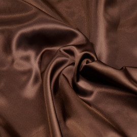 Doublure satin polyester chocolat x 10cm