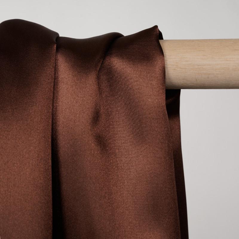 Doublure satin polyester chocolat x 10cm - pretty mercerie - mercerie en ligne