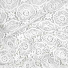 Tissu dentelle blanc cassé motif romantic flower x 10cm