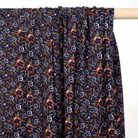 Tissu viscose caramel à motif fleuri bleu, blanc cassé et kaki - pretty mercerie - mercerie en ligne