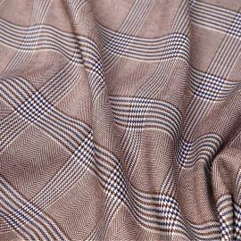 Tissu Prince de Galles chocolat, blanc et bleu x 10 cm