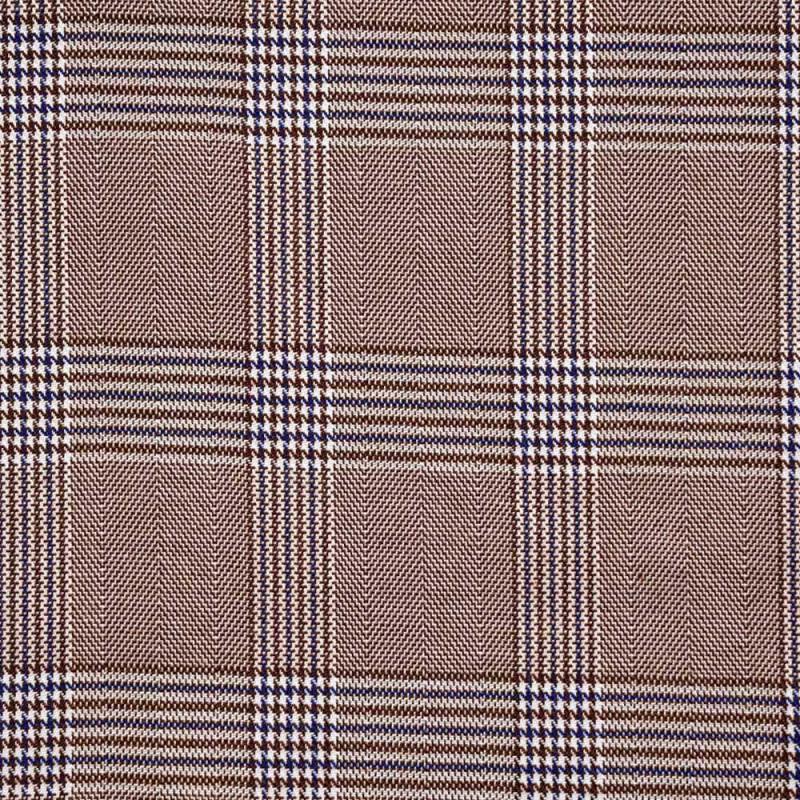 Tissu Prince de Galles chocolat, blanc et bleu - pretty mercerie - mercerie en ligne